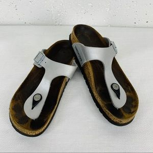 Birkenstock size 36 Silver Leather Thong Sandals